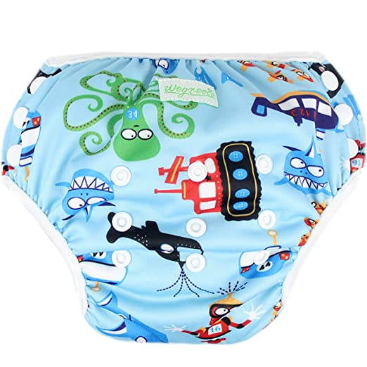796da03d07 Amazon.com : Wegreeco Baby & Toddler Snap One Size Reusable Baby Swim Diaper  (Diving, Ocean, Turtle, Small, 3 PACK) : Baby