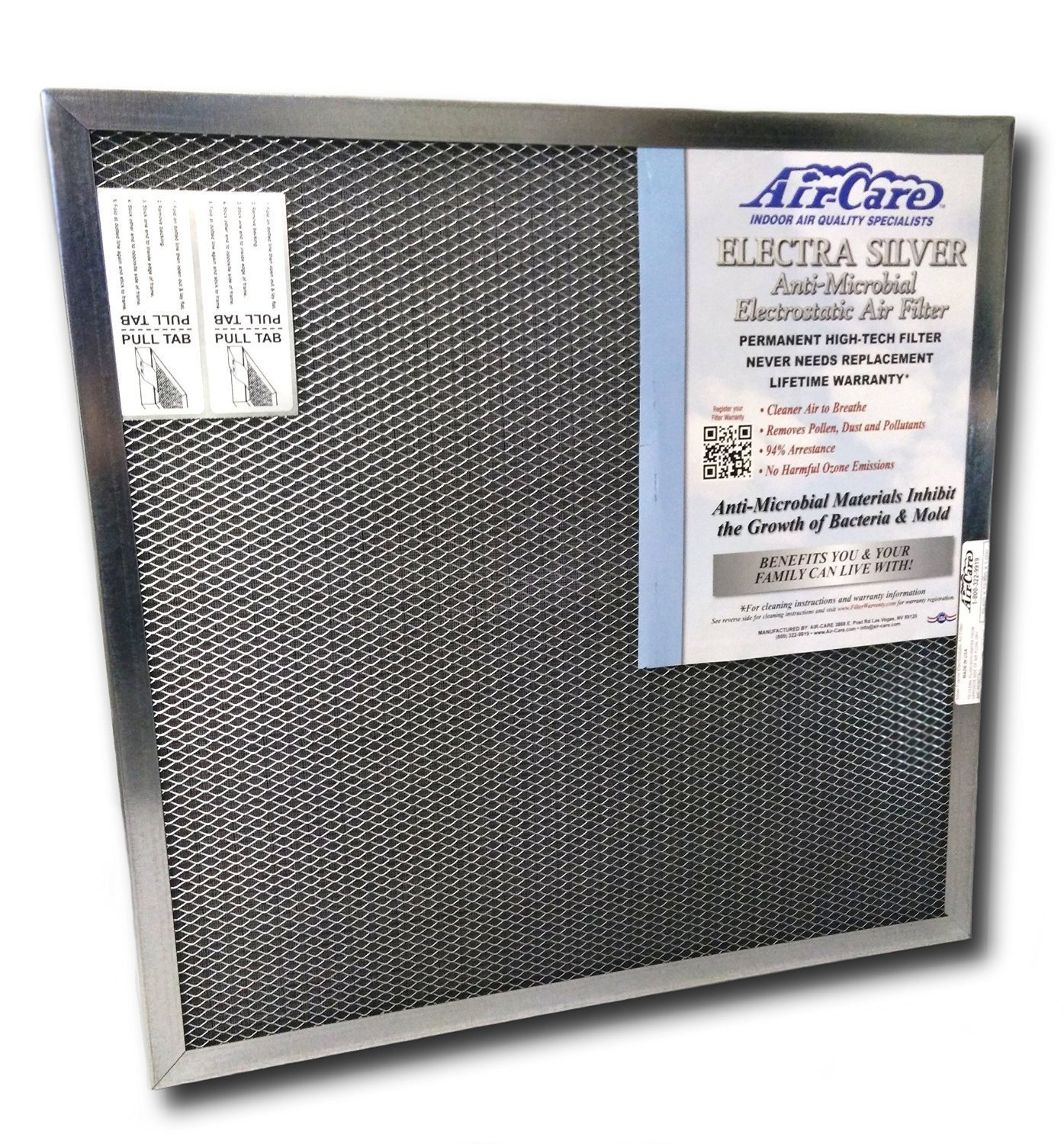 Air-Care 20x30x1 Silver Electrostatic Washable A/C Furnace Air Filter - Limited, Never Buy Another Filter!! - Made In the USA by AirCare
