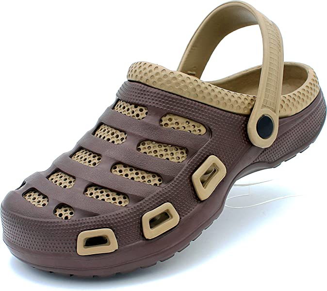 ff37a272e08f59 Men s Garden Clogs Shoes Slip-On Casual EVA Two-Tone Lightweight Slipper  Sandals (