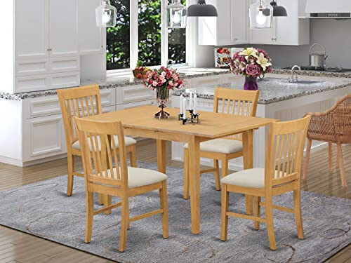 NOFK5-OAK-C 5 Pc dinette set for small spaces – Table and 4 Dining Table Chairs