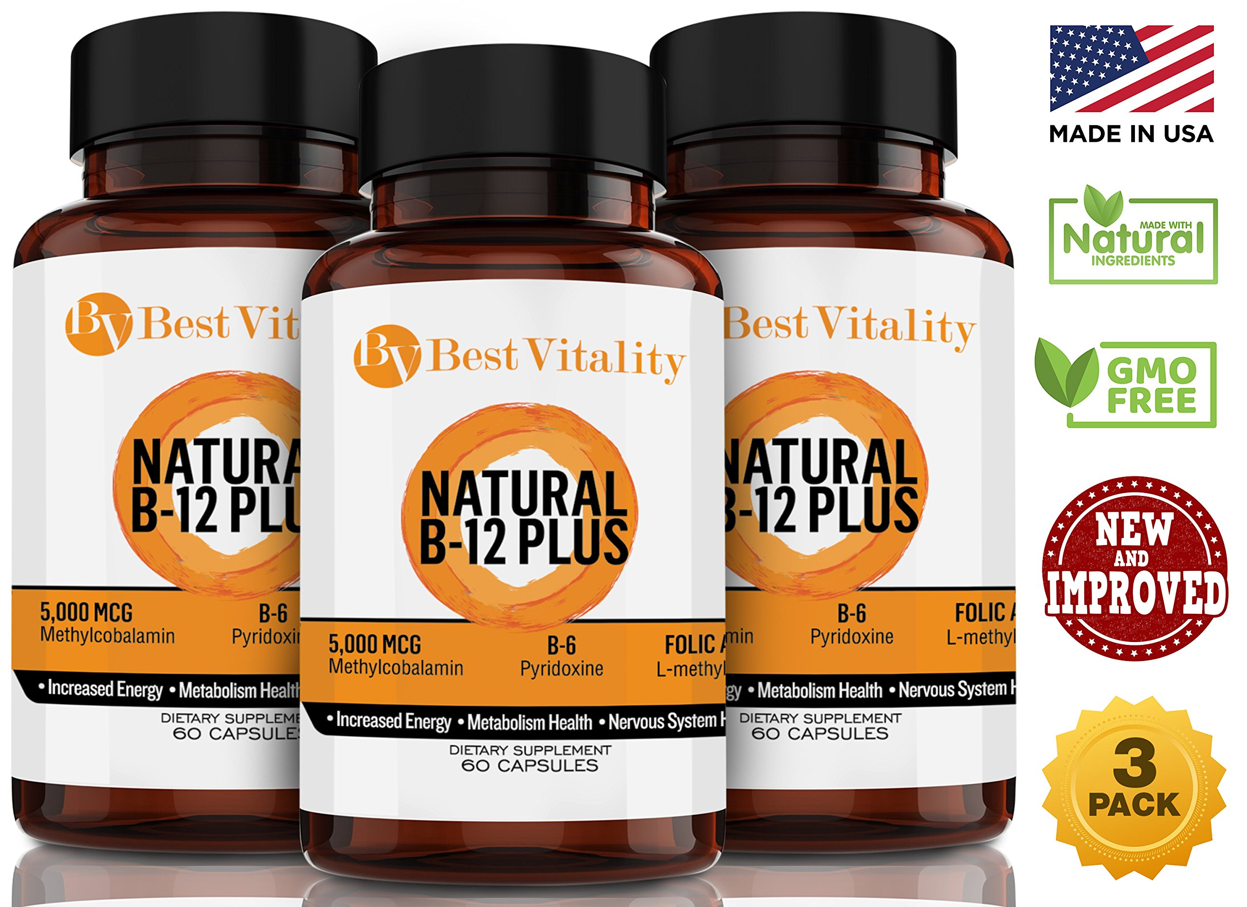 Best Vitality - Vegan Safe All Natural Vitamin B Complex B12 Methylcobalamin, B6 & Folic Acid - 60 Vegetarian Capsules. Three Pack Bundle (Best Value!!!) - Made In USA
