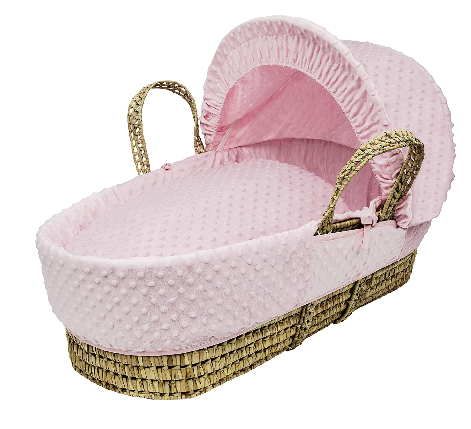 Kinder Valley Palm Moses Basket, Pink Dimple 10045