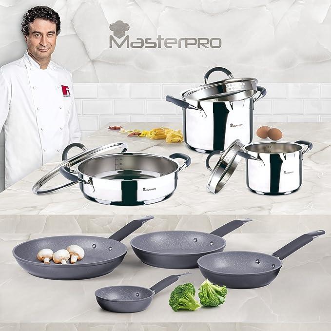 Set Batería de cocina SIP 5 piezas (cazo + dos ollas con tapa de vidrio) + Set de Sartenes SIP Ø20/24/28 cms., aluminio forjado, mango tubular con ...
