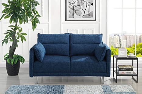 Remarkable Amazon Com Upholstered 57 Inch Mid Century Linen Loveseat Dailytribune Chair Design For Home Dailytribuneorg