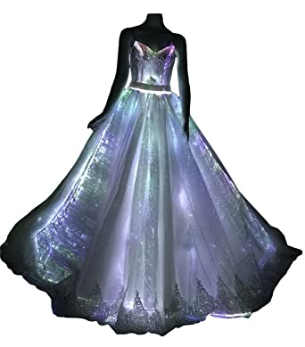 Led Fiber Optic Light Up Wedding Dress Glowing Bridal Gown Luminous