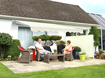Primrose 4m X 3m Standard Manual Patio Awning U2013 Ivory   Complete With  Fixings And Winder