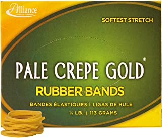 """product image for Alliance Rubber 20129 Pale Crepe Gold Rubber Bands Size #12, 1/4 lb Box Contains Approx. 962 Bands (1 3/4"""" x 1/16"""", Golden Crepe)"""