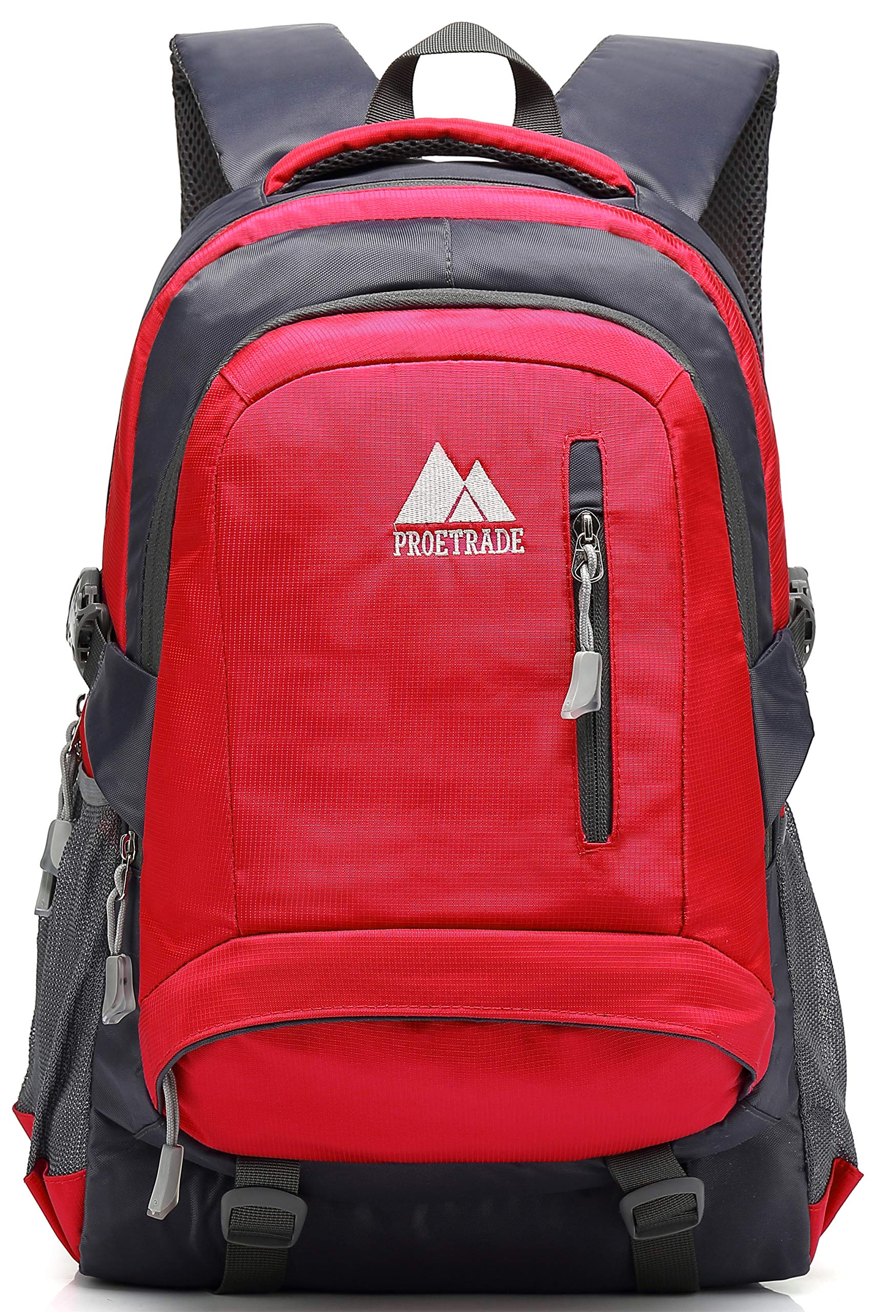 School Backpack BookBag For College Travel Hiking Fit Laptop Up to 15.6 Inch Water Resistant (Red) by ProEtrade (Image #1)