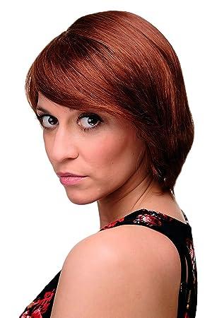 Wig Me Up Kurzhaarperucke Frauen Perucke Braun Braun Rot Mix Glatt Pony Seitenscheitel Ca 25cm 6082 33a 130