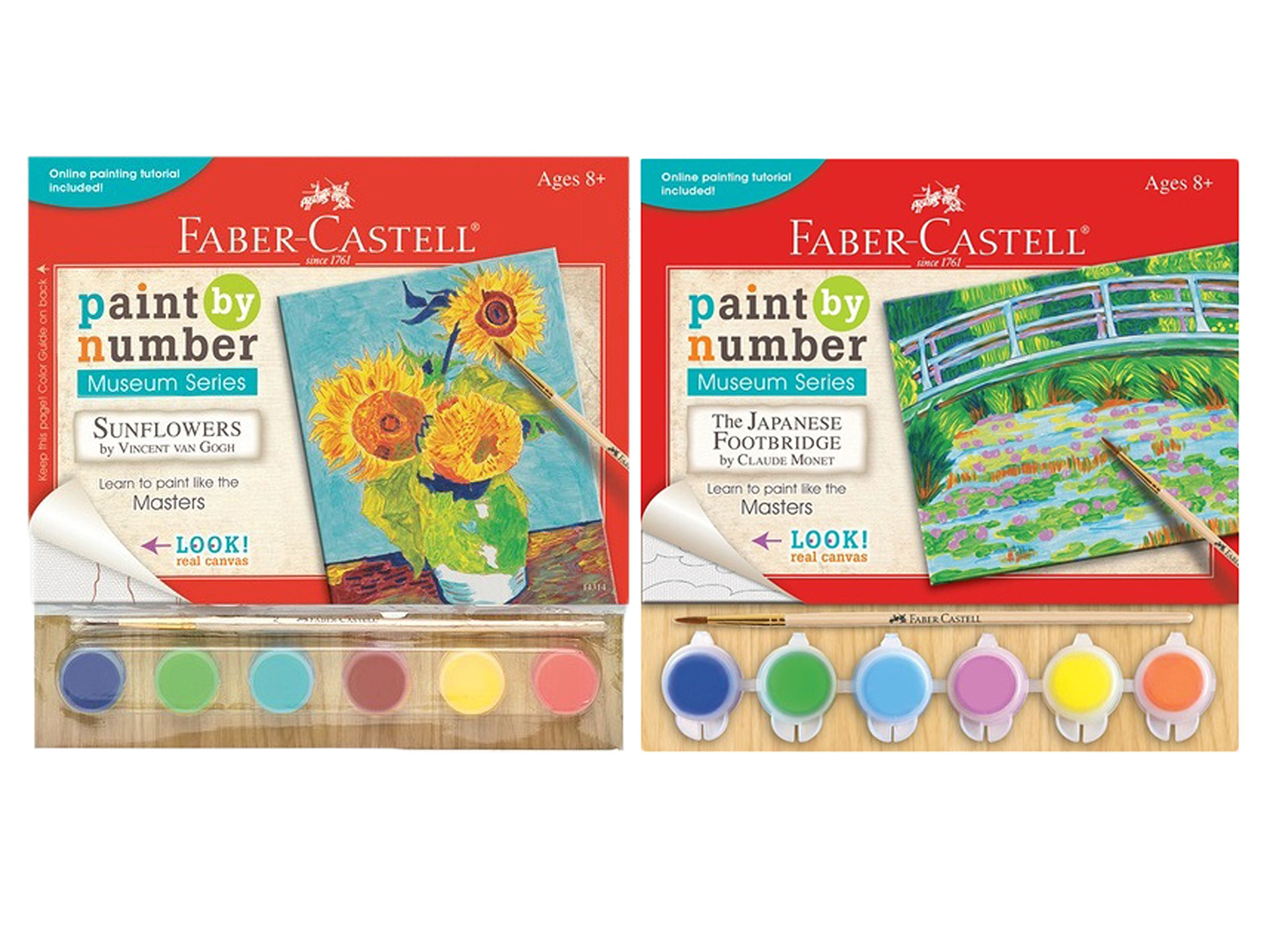 Faber Castell Paint by Number Sunflowers by Vincent Van Gogh and The Japanese Footbridge by Claude Monet Bundled by Maven Gifts