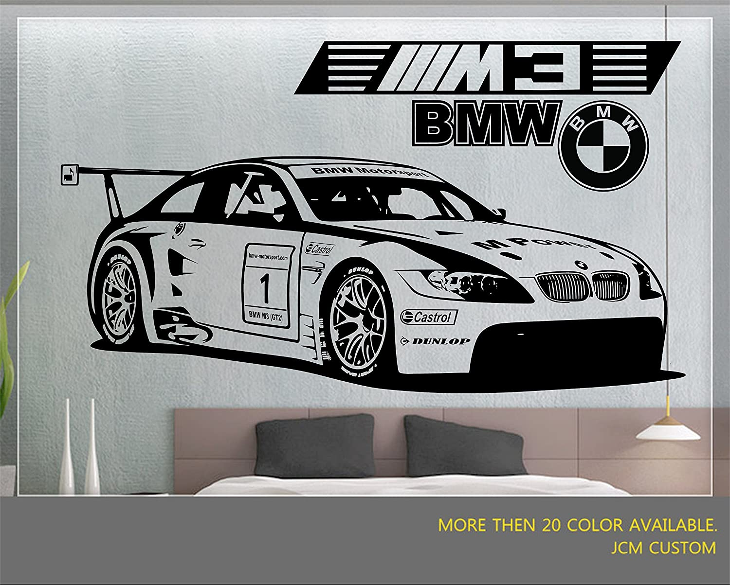 Jcm custom m3 gt2 m power race car removable wall vinyl decal stickers 58 x 22 amazon com