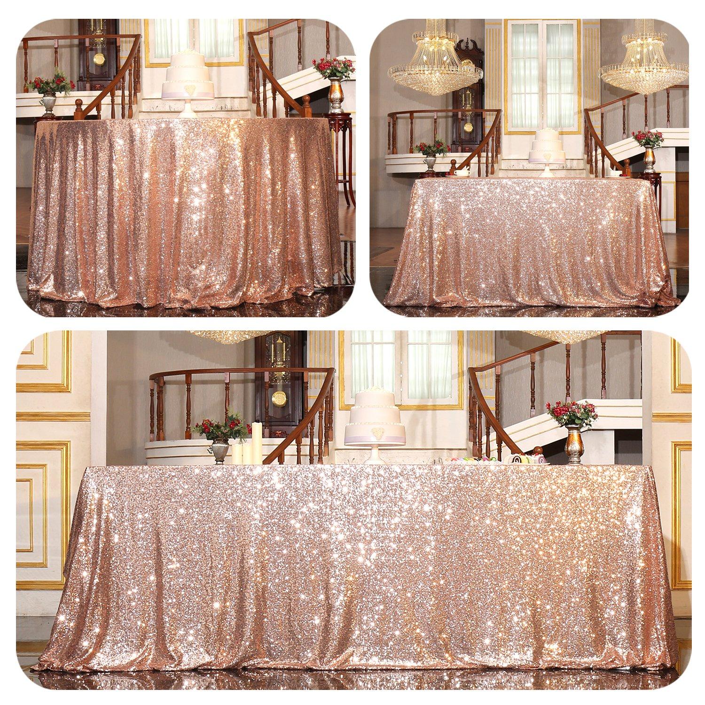 PartyDelight Sequin Tablecloth, Rectangular, 60''x120'', Rose Gold