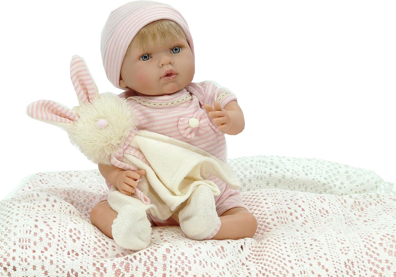 Muñeca Tita con conejito de regalo (R/1000), Preciosa muñeca con cuerpo articulado, muy blandita y con un pijama muy suave. Muñeca perfumada