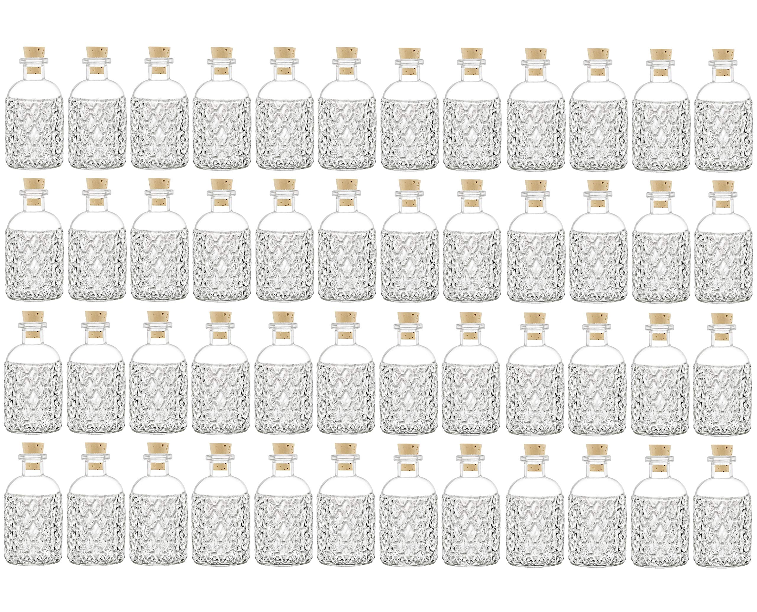 Nakpunar 48 pcs 8 oz Corked Boston Round Bottles with cork - Clear Quilted Style (48, 8 oz Quilted Boston)