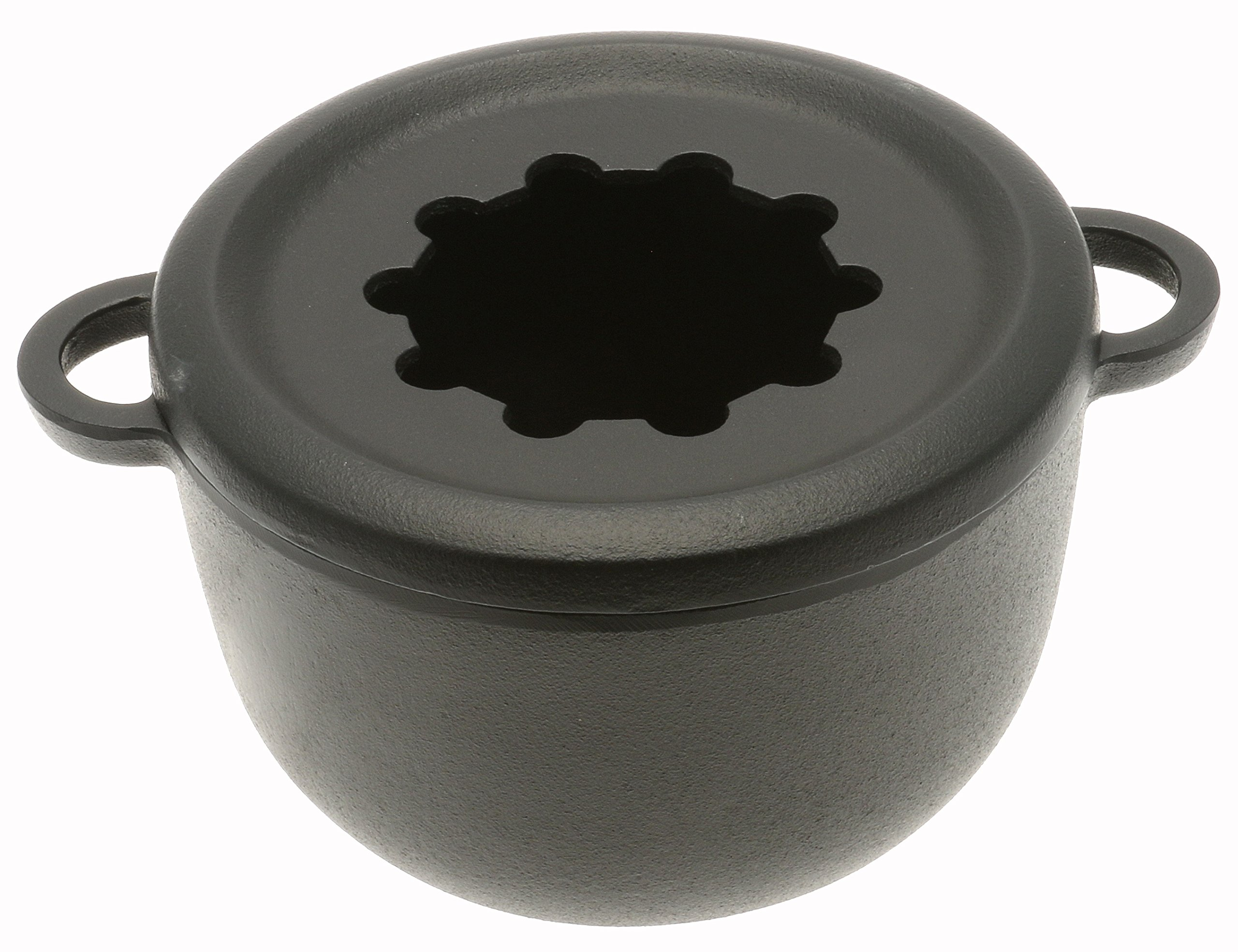 Iwachu Cast Iron Fondue and Deep-Fry Pot with Scalloped Ring and Wire Rack, Black