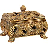 Sterling Home 87-2636 Textured Leaf Footed Keeping Box, 7-1/2-Inch Long by 6-1/4-Inch Tall