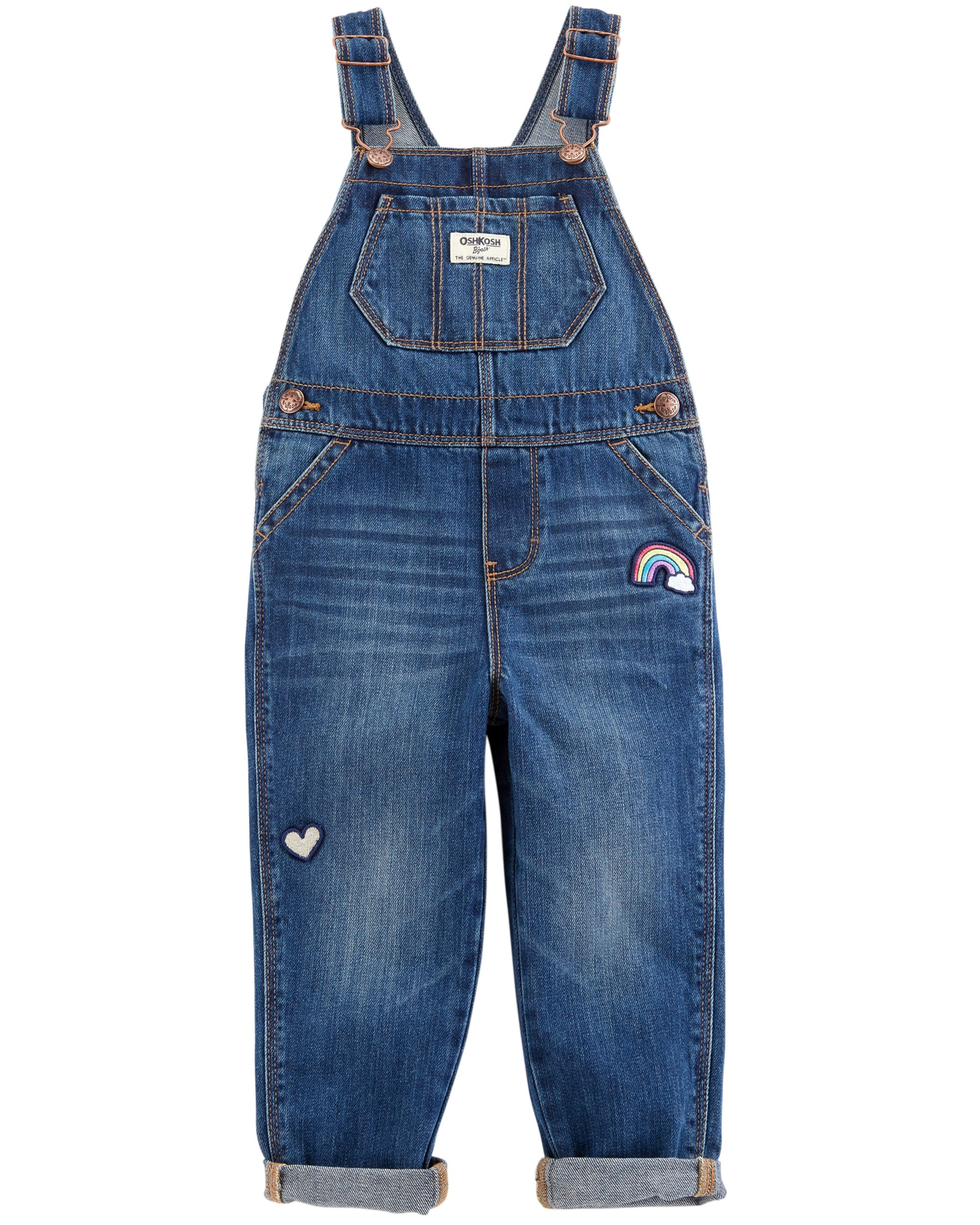 Osh Kosh Girls' Toddler World's Best Overalls, Medium Wash, 4T