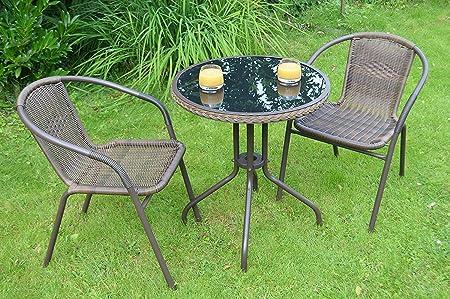 2x Bistrostuhl Polyrattan Gartengarnitur Sitzgruppe Alu Bistrotisch Ø60cm
