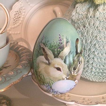 Retrovintage style tin rabbit bunny easter egg shaped gift box retrovintage style tin rabbit bunny easter egg shaped gift box negle Images