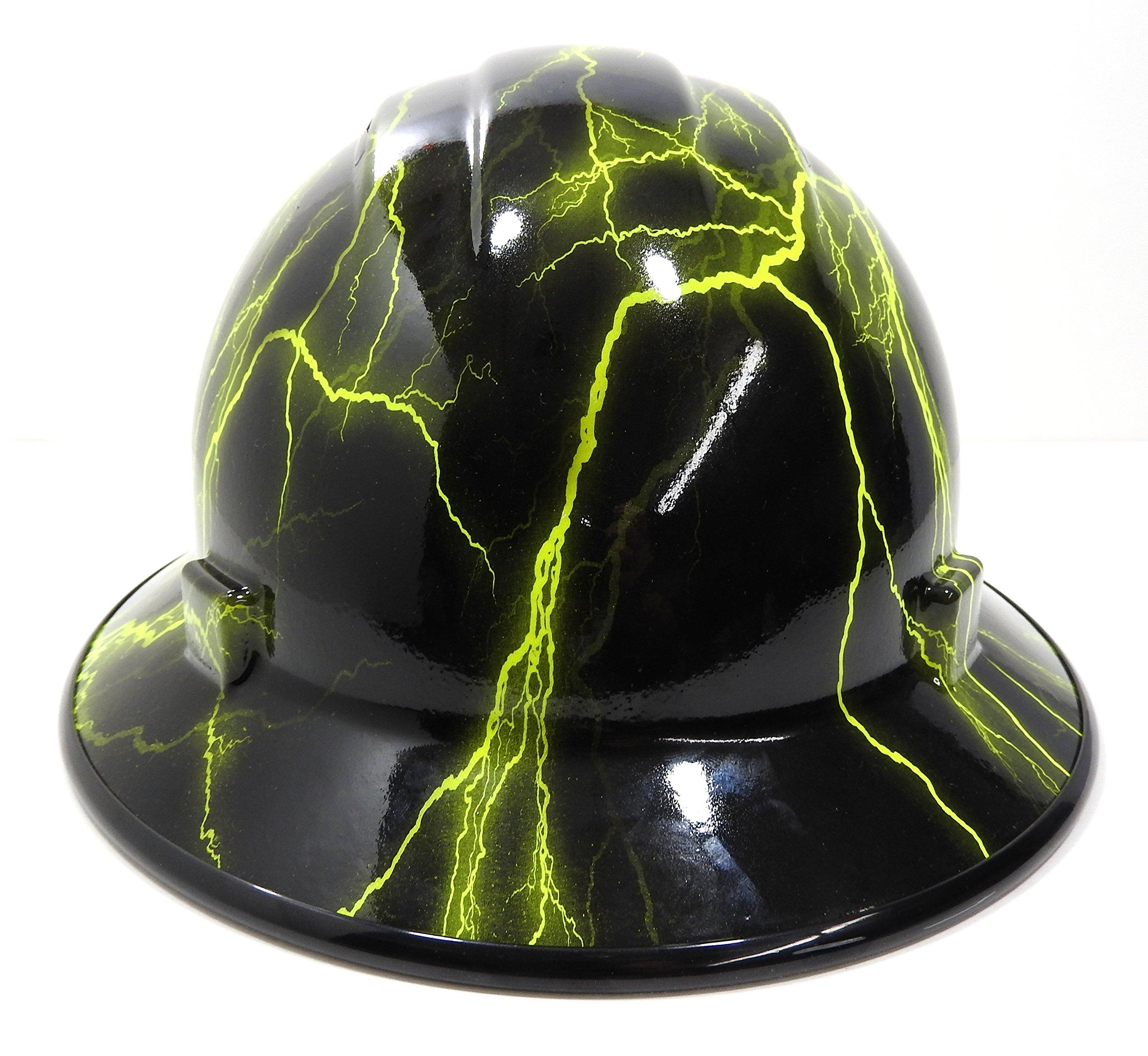 HardHatGear Custom Hydro Dipped VENTED Full Brim Hard Hat in 'Hi Viz Lightning' - Made in USA by Hardhatgear (Image #2)