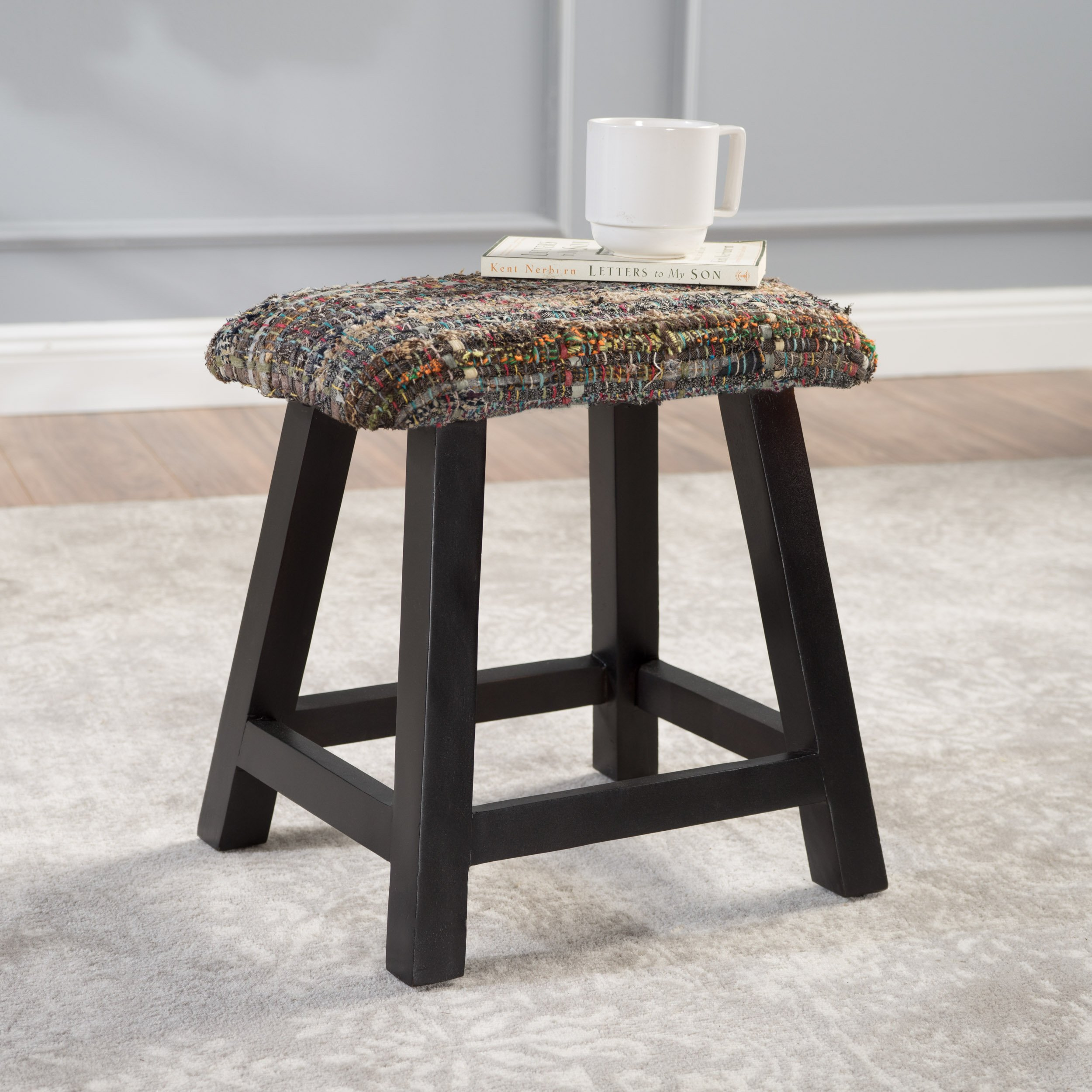Reese Mixed Color Fabric Handmade Wood Bench (Mixed Color Grey)