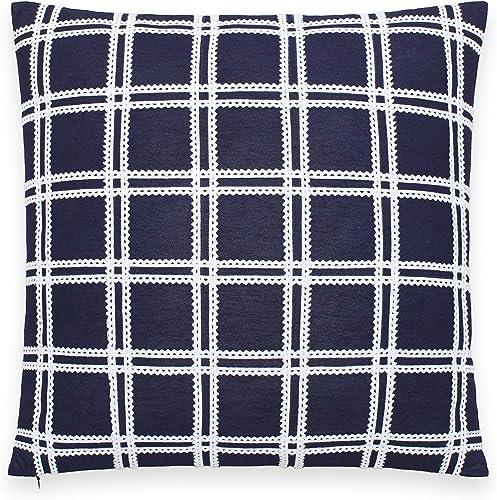 Kate Spade New York RIC Rac Grid Decorative Pillow, 18X18, Navy