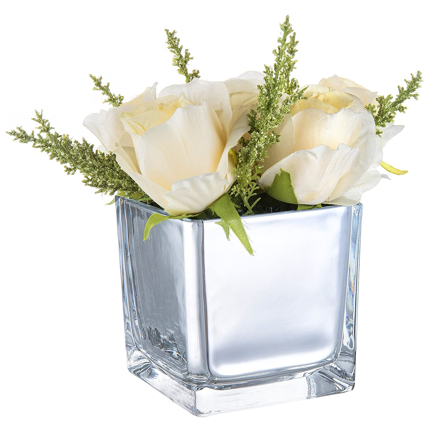 Decorative Square Silver Flower Planter Pot MyGift 4-Inch Mirror-Finish Glass Cube Vase