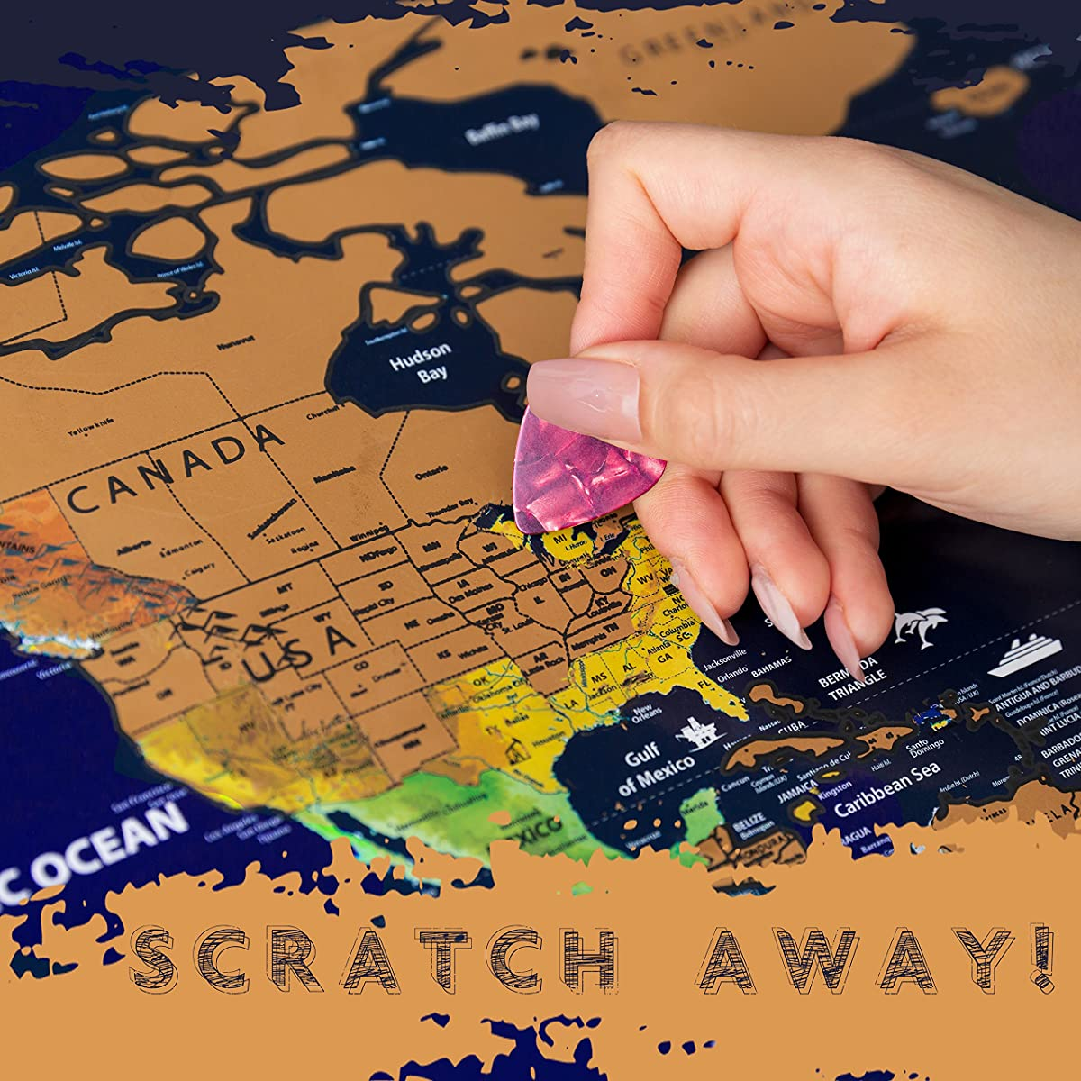 Travel Maps Scratch Off World Map   Extra Large Wall Map 33x24 inches   Traveler Map Scratch-Off World Map with Precision Scratch Pen, Scratch Pick and Bag in Gift Tube by PBP Company