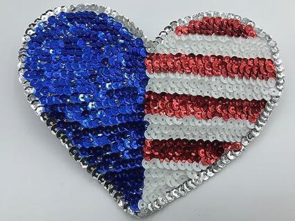 Amazon trimplace sequin american flag heart applique