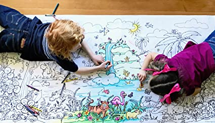 Giant Wall Size 5ft Coloring Page Jungle Fun Color Me Cartoons For Kids And Adults Family Gatherings Quality Time Creative Learning 60 X30
