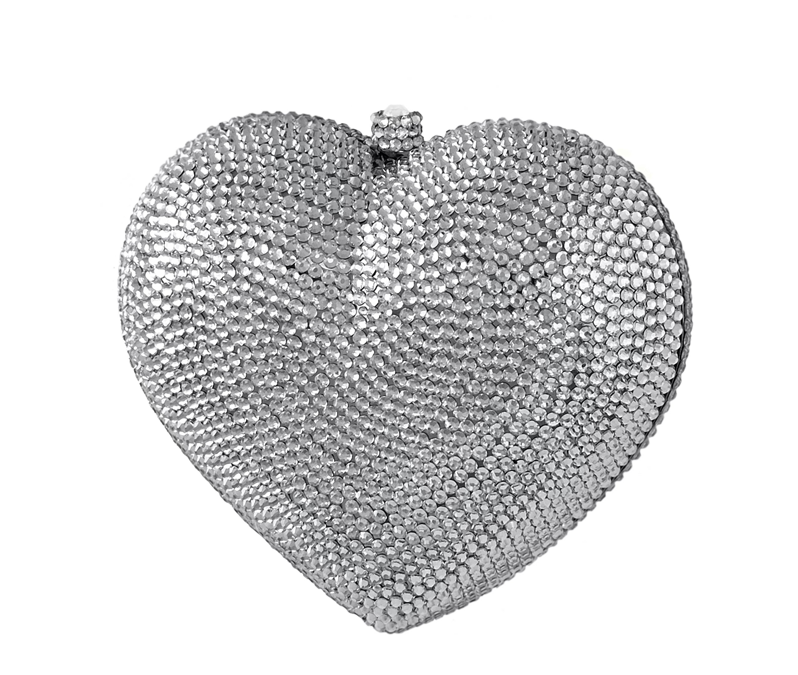 3D Heart Shaped Crystal Bridal Clutch Pave Special Occasion Evening Bag & Compact Mirror Silver