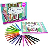 Prismacolor 1989556 Paper Mate Flair Felt Tip Pens, Medium Point, Assorted Colors, 20 Count with Women's Closet Adult Coloring Book