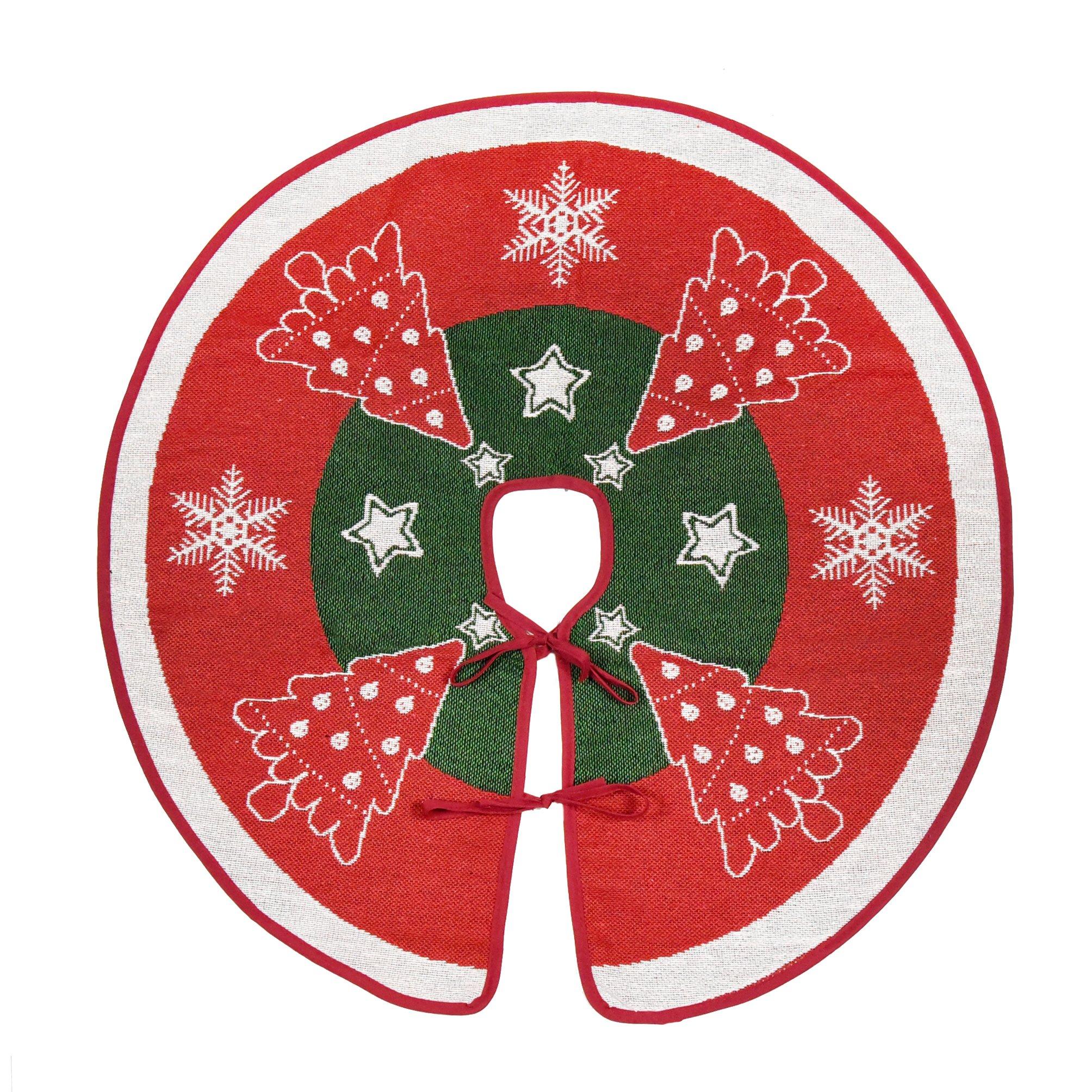 Primode Red Xmas Tree Skirt 30'', Pine Trees, Stars and Snowflakes Design Jacquard Woven