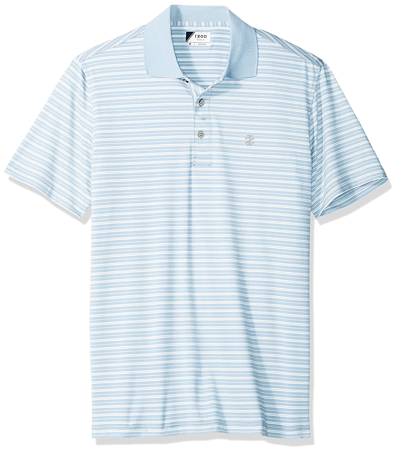 Izod Mens Short Sleeve Textured Stripe Traditional Golf Polo At