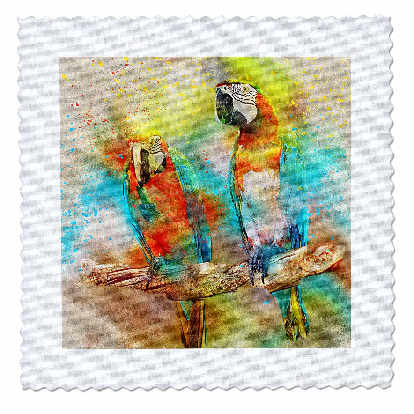 3dRose Sven Herkenrath Animal - Parrot Macaw Bird with Watercolor Background - 22x22 inch quilt square (qs_280255_9)