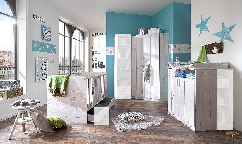 Babyzimmer-Set BORNHOLM 3tlg Bett Komplettset Wickelkommode Eckschrank Weißeiche-Nachbildung / Icy White