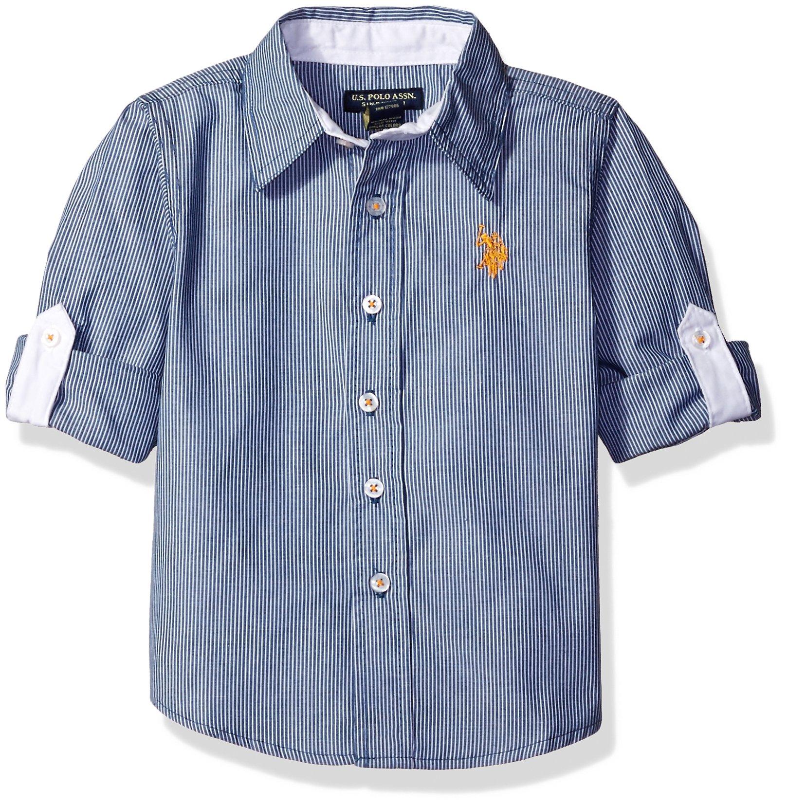 U.S. Polo Assn. Little Boys' All Cotton Clean Front Point Collar Long Sleeve Woven Shirt, Blue, 2T