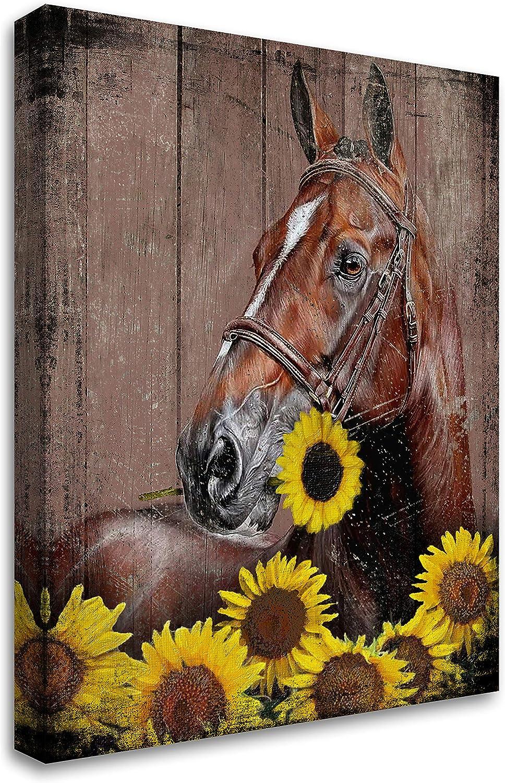 Rustic Wall Art & Horse Sunflower - Farmhouse Flowers Animal Wood Grain Giclee Canvas Framed Art Wall Decor for Bathroom Bedroom Live Room , 12x16 inch