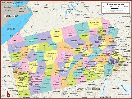Amazon Com Academia Maps Pennsylvania State Wall Map Fully