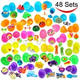 48 Toys Filled Easter Eggs, 2.5 Inches Bright Colorful Prefilled Plastic Surprise Eggs with 24 kinds of Popular Toys for Easter Basket Stuffers by Joyin Toy