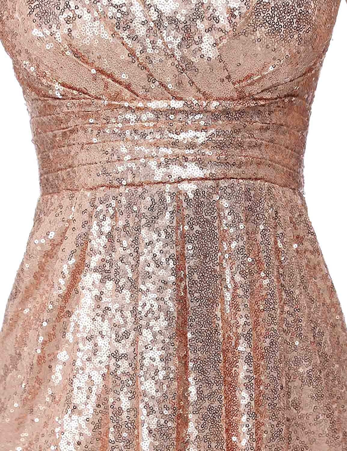 Clearbridal Women's Sequins Mermaid Prom Evening Party Dress Maxi Bridesmaid Gowns SD197 Zz-rose Gold-385