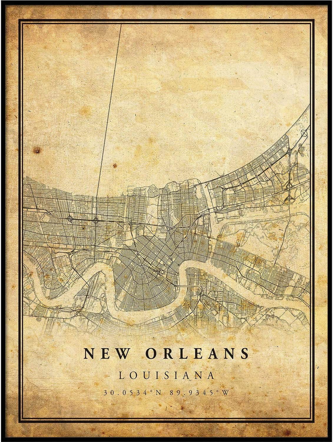 New Orleans map Vintage Style Poster Print | Old City Artwork Prints | Antique Style Home Decor | Louisiana Wall Art Gift | map to Love 8.5x11