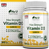 Vitamin D 3000 IU 365 Softgels (Full Year Supply) | Triple Strength Vitamin D3 Supplement | High Absorption Cholecalciferol | Gluten & Dairy Free by Nu U Nutrition