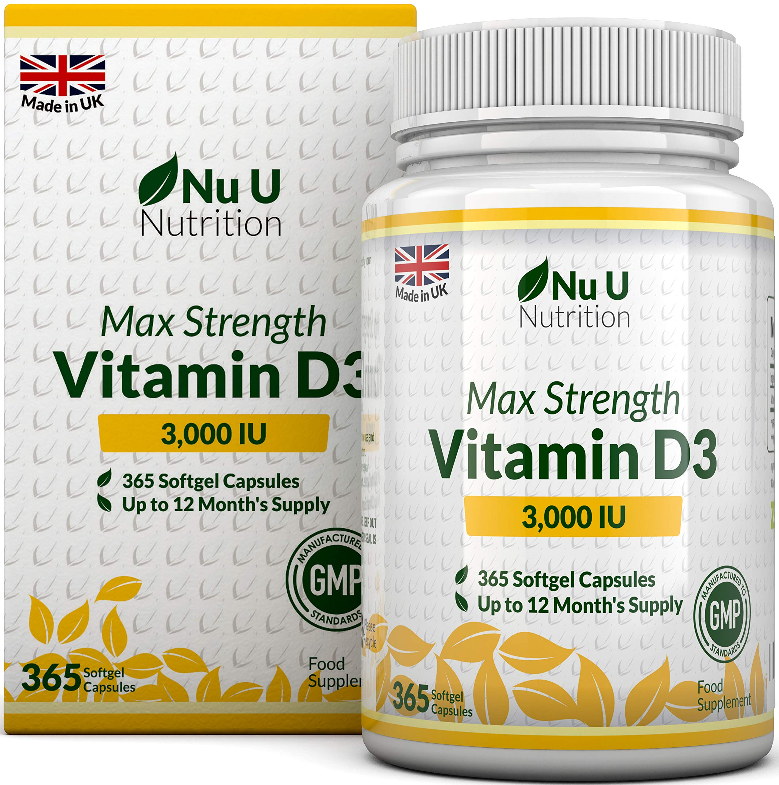Vitamin D 3000 IU 365 Softgels (Full Year Supply) | Triple Strength Vitamin D3 Supplement | High Absorption Cholecalciferol | Gluten & Dairy Free by Nu U Nutrition product image