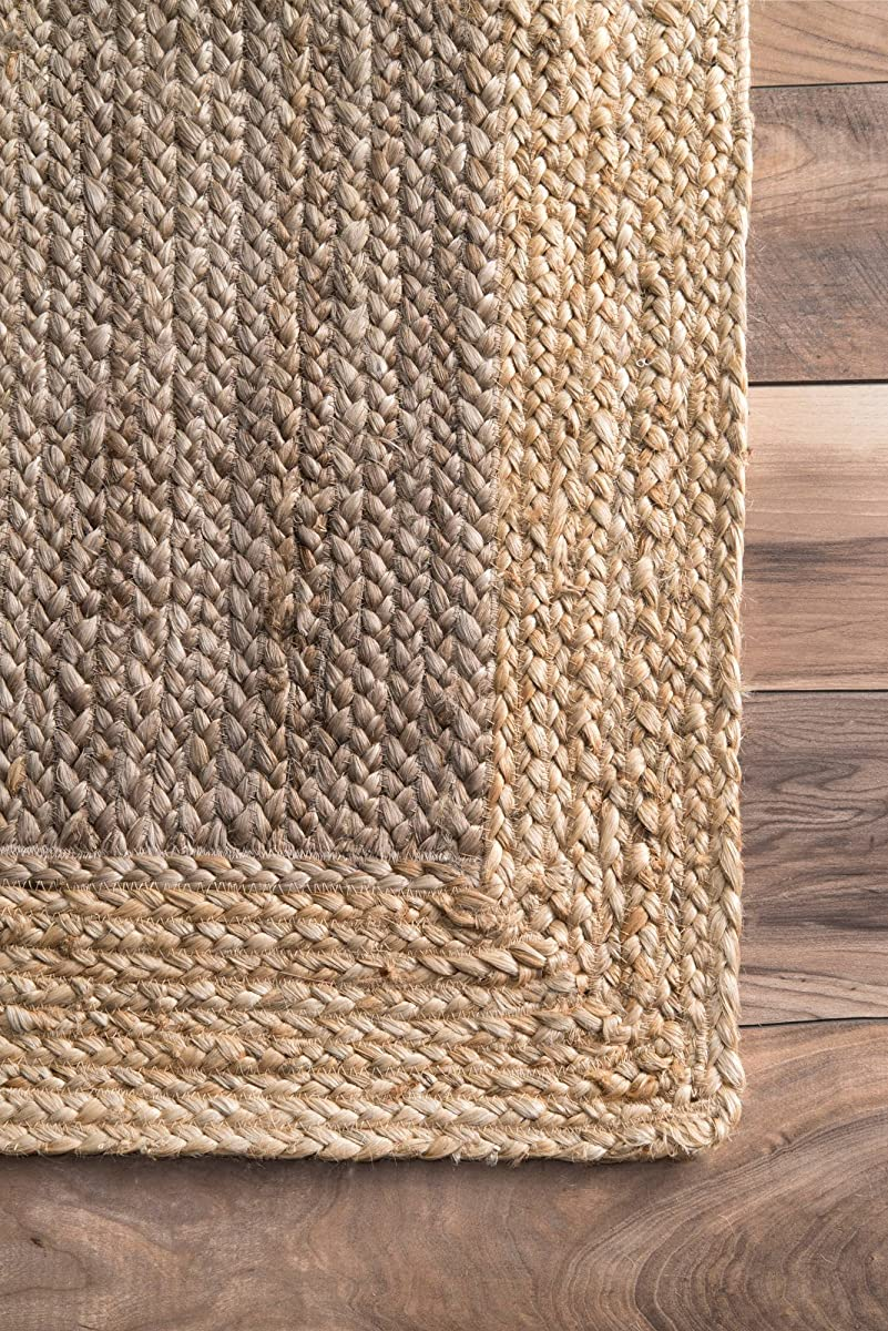 nuLOOM Natural Fibers Border Jute Grey Area Rugs, 8, Grey