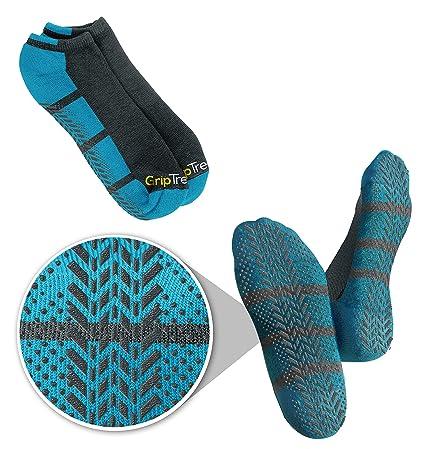 2cbb2e3481787 Men's & Women's Blue No-Slip No Show Grip Tread Hospital & Yoga Socks