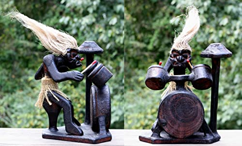 G6 Collection Handmade Wooden Primitive Tribal Statue with Drum Kit Sculpture Tiki Bar Drummer Band Handcrafted Unique Gift Decorative Home Decor Accent Figurine Decoration Hand Carved Primitive Drum