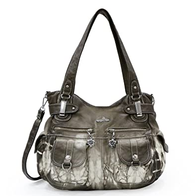 243729fa13 Angelkiss Women s Handbag Large Double Zipper Multi Pocket Washed Shoulder  bag Designer Handbags for Women (