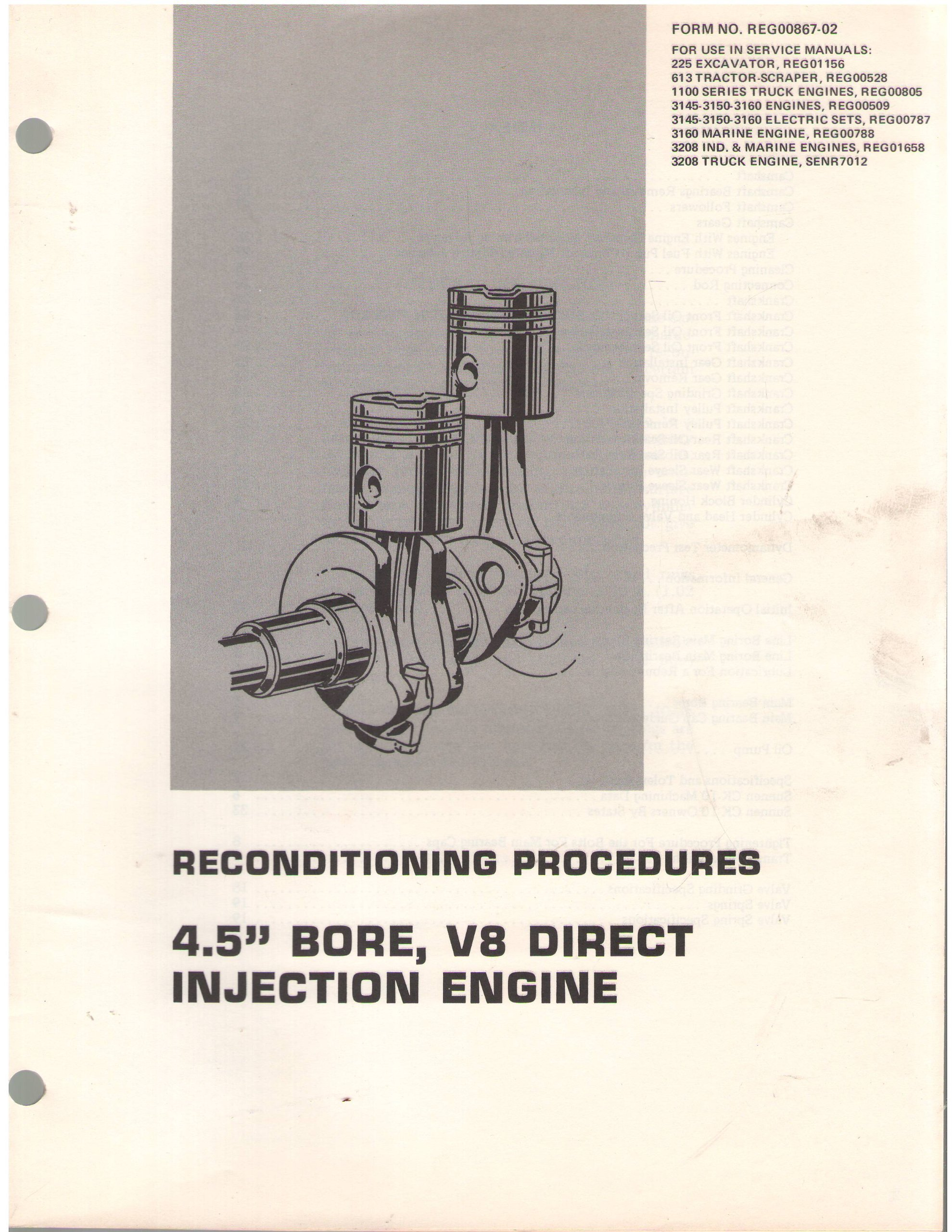 Reconditioning Procedures 45 Bore V8 Direct Injection Engine Injected Diagram Caterpillar Tractor Co Books