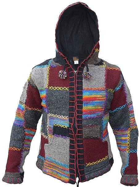 Little Kathmandu - Chaqueta de lana natural tejida, con forro polar, estilo funky hippie y diseño de parches: Amazon.es: Ropa y accesorios